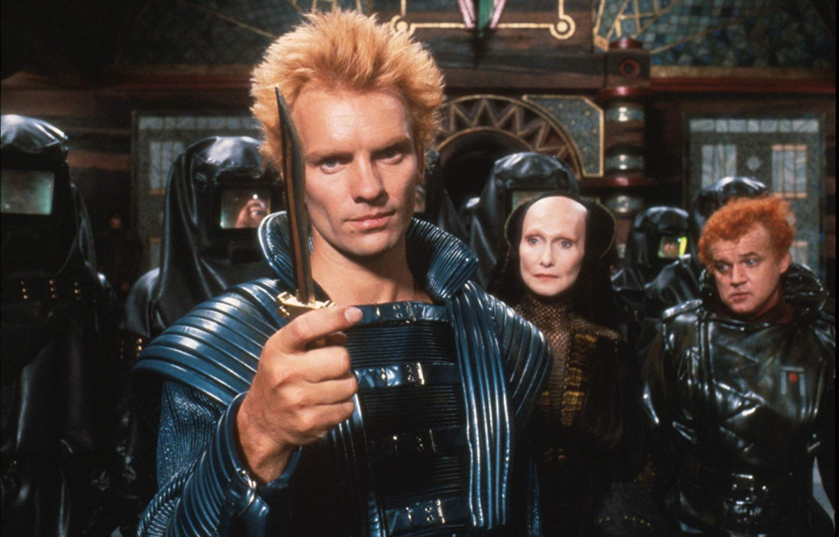 the actors Sting, Jack Nance, and Siân Phillips in the 80s movie Dune