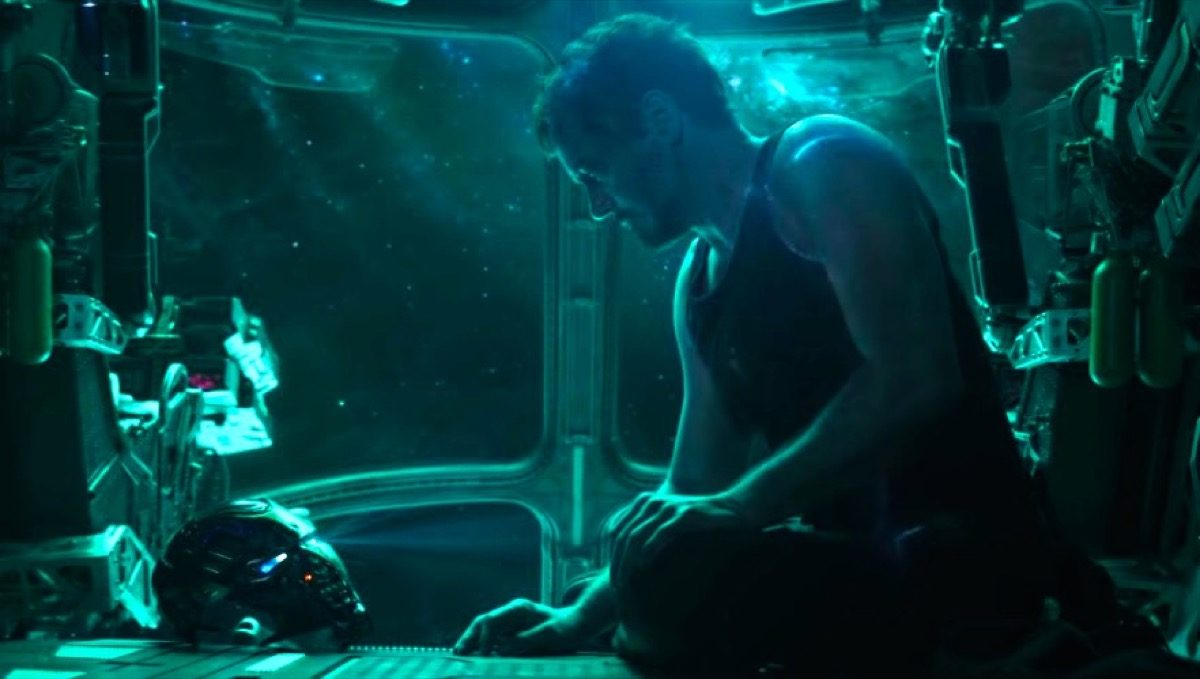 Robert Downey Jr. as Tony Stark lost in space, talking to his Iron Man mask in the Avengers: Endgame trailer.