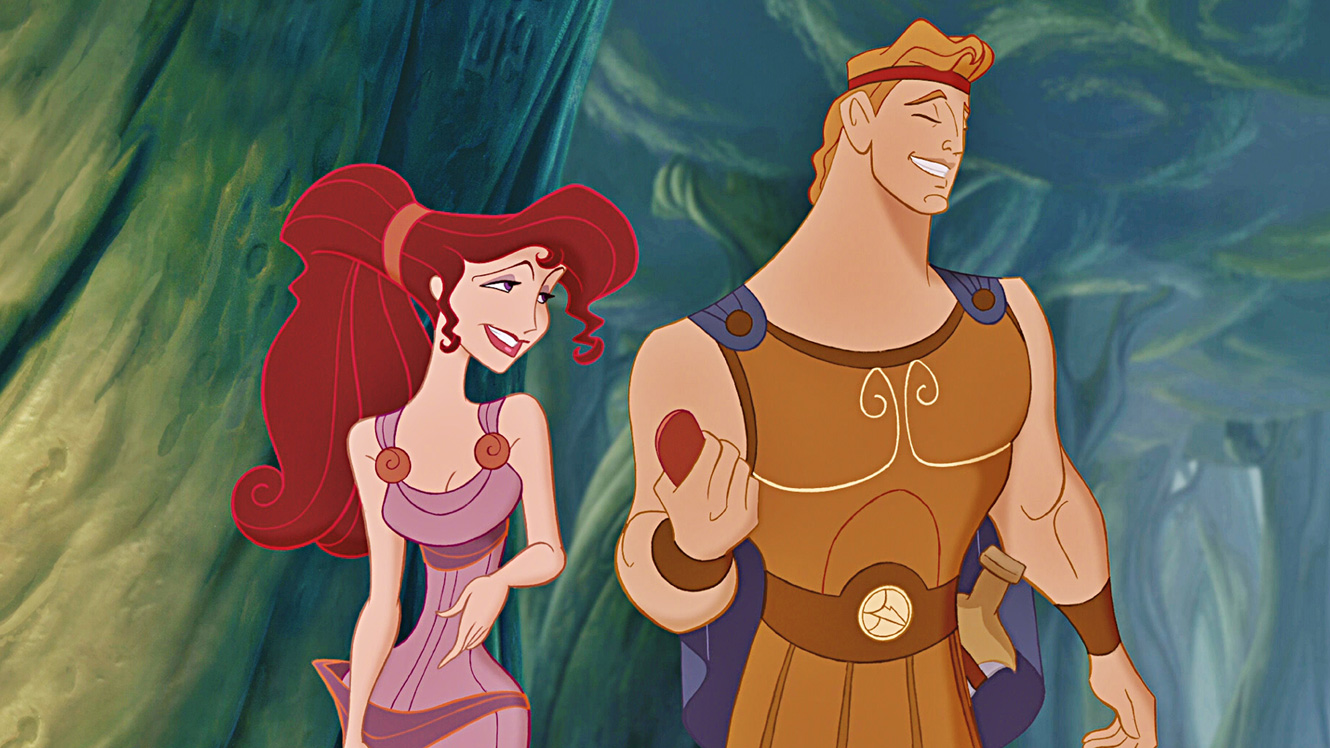 A still of Hercules and love interest Meg from Disney's Hercules.