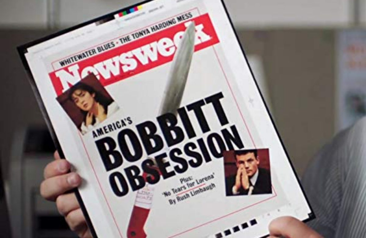 "Still from the Lorena documentary from Amazon, which shows a man holding an unpublished Newsweek titled ""The Bobbit Obsession."""
