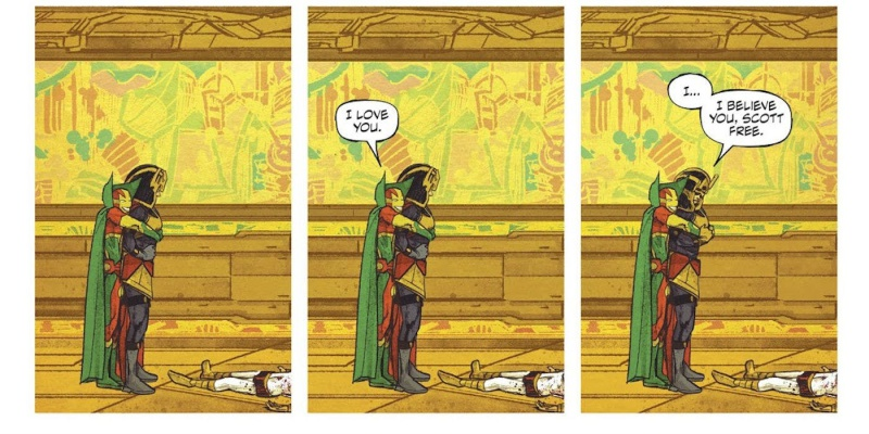 Mister Miracle and Big Barda together hugging each other over the course of three panels.