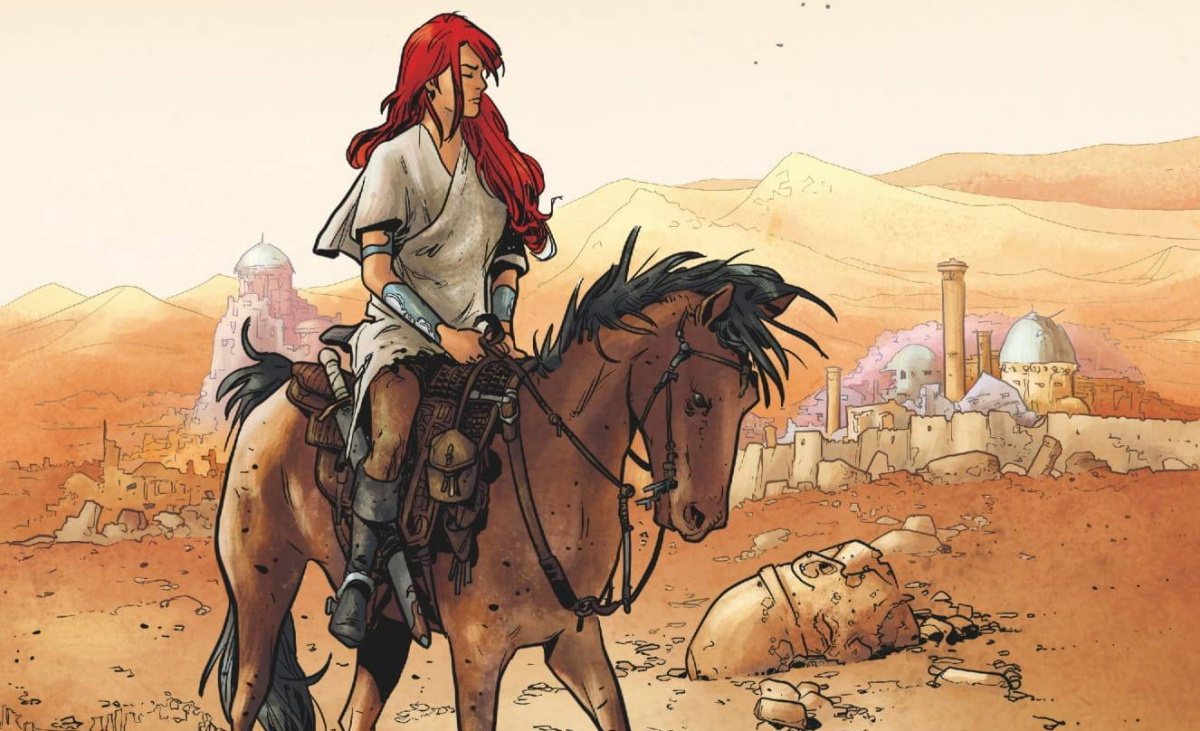 Red Sonja internal panel of the titular red-haired beauty on a horse of equal beauty.