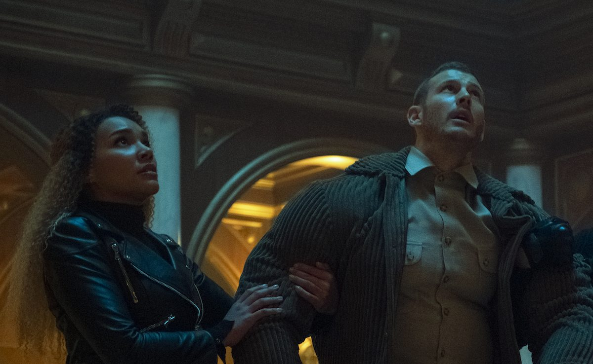 Emmy Raver-Lampman and Tom Hopper as Allison and Luther in Netflix's Umbrella Academy.