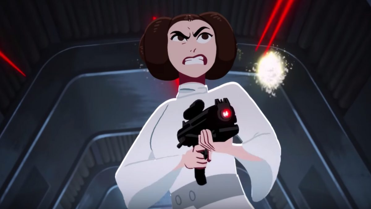 Leia brandishing a blaster on the Death Star in Star Wars animated short.