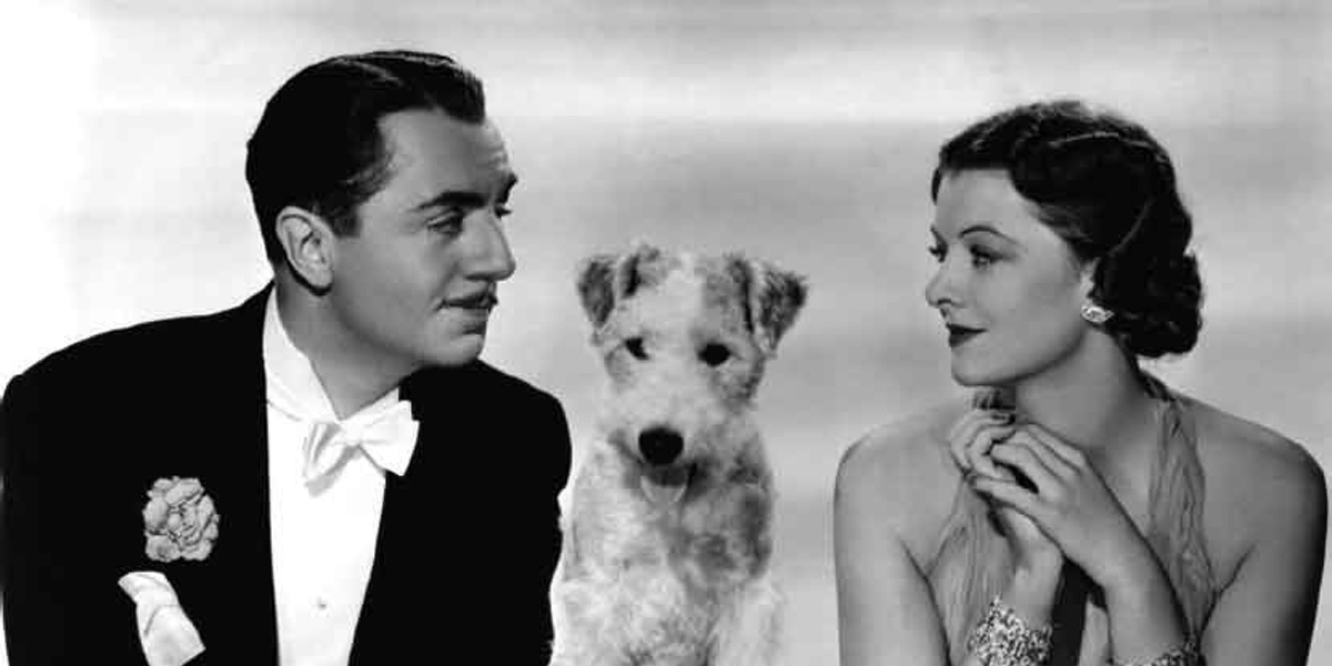 William Powell and Myrna Loy pose as Nick and Nora Charles in a promotional still for The Thin Man