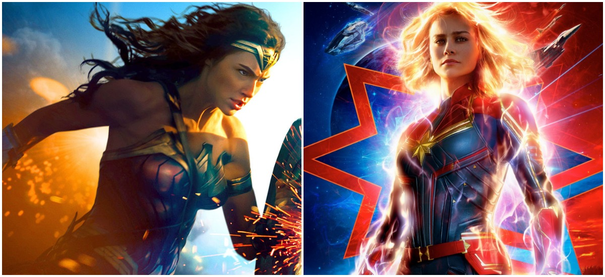 Wonder Woman and Captain Marvel strike heroic poses in their respective posters.