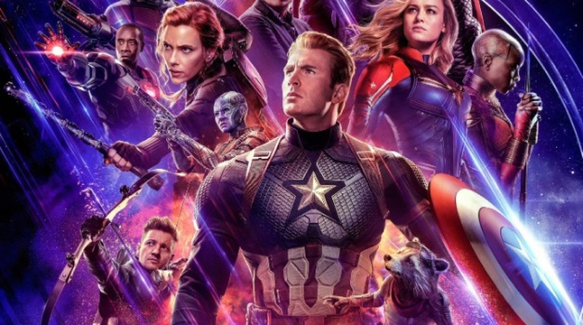 avengers endgame movie poster with avengers team