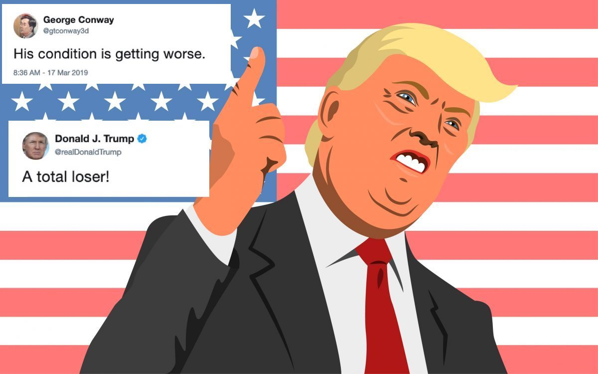 Illustration of an angry Donald Trumps with tweets from George Conway feud