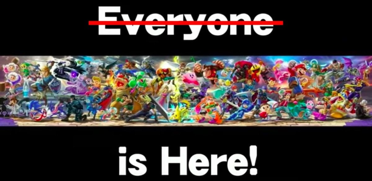Smash Bros. Ultimate cast with Everyone Is Here text.