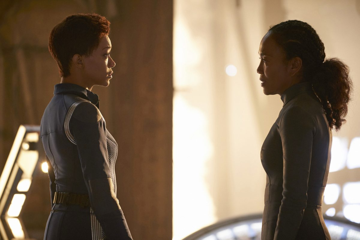 Sonequa Martin-Green as Burnham; Sonja Sohn as Burnham's mom