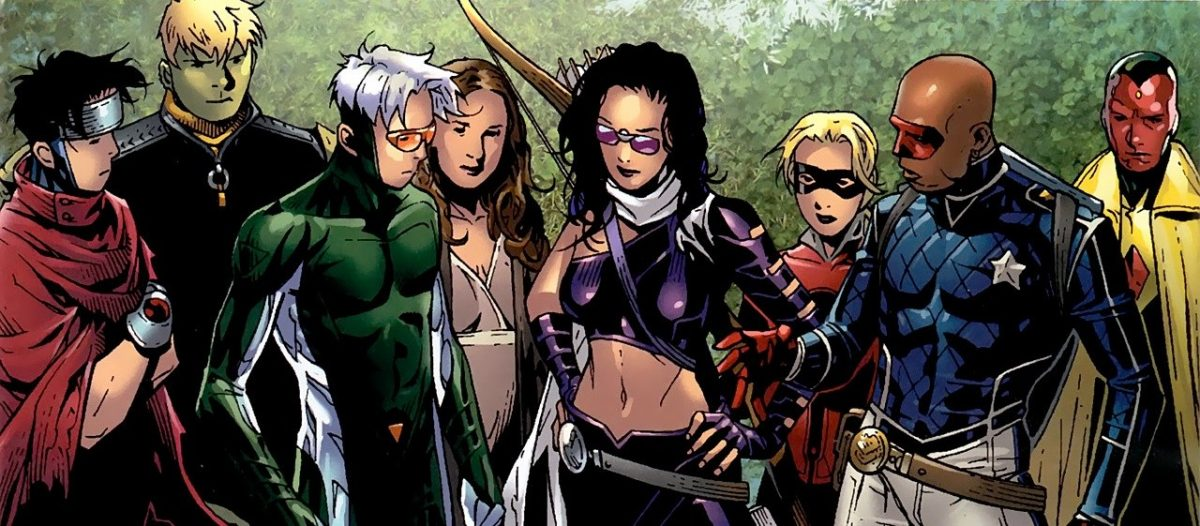 The Young Avengers stand together in a comic panel.