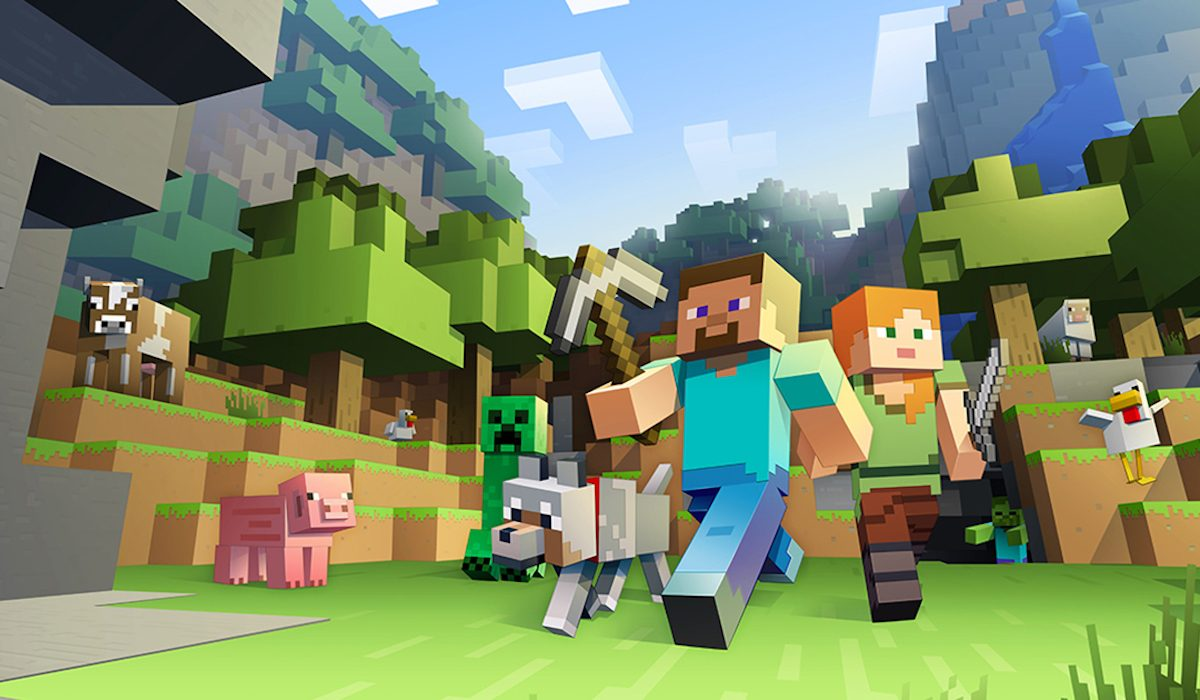 A screenshot of Minecraft human and animal figures, living in peace and ignoring the existence of Notch.