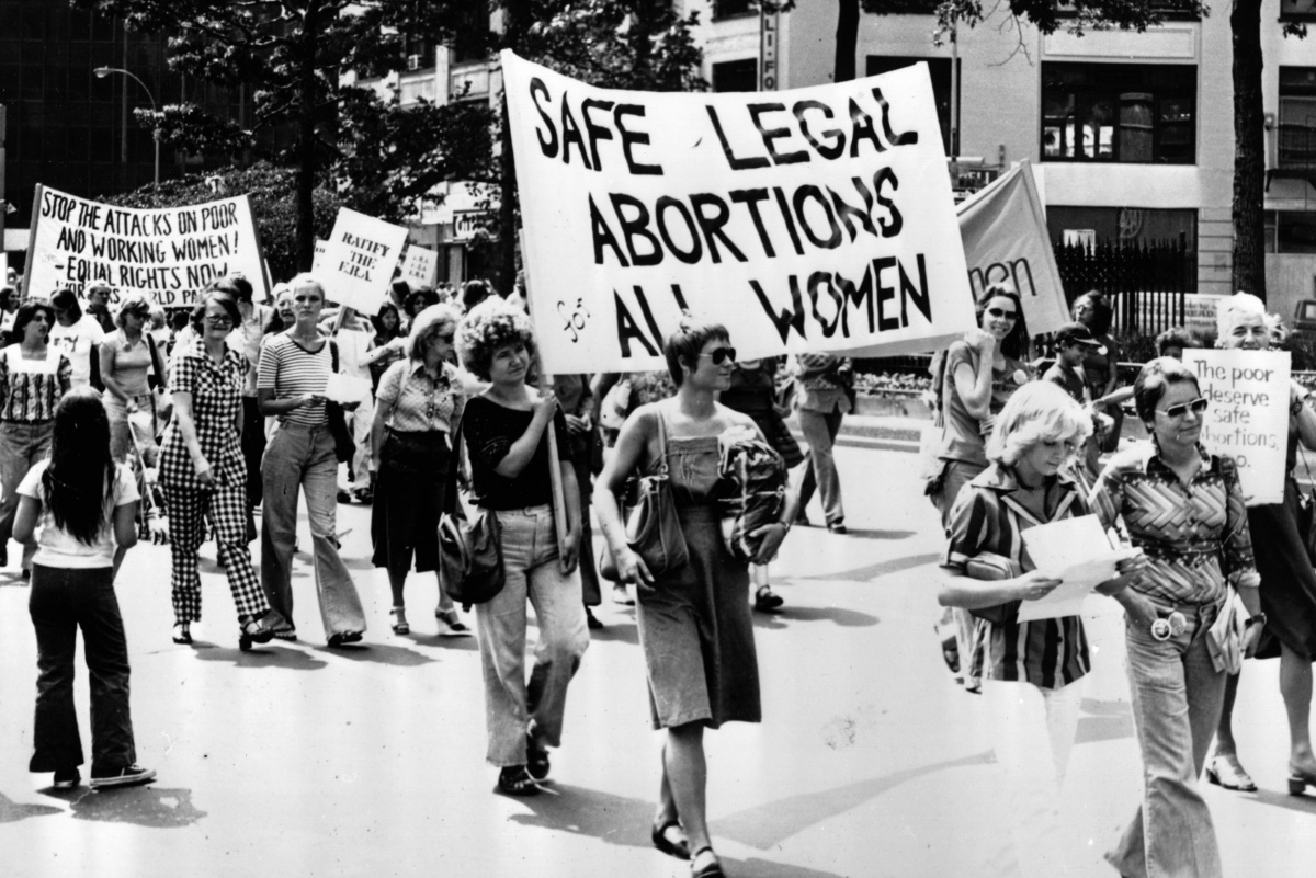 1977: Women taking part in a demonstration in New York demanding safe legal abortions for all women. (Photo by Peter Keegan/Keystone/Getty Images)