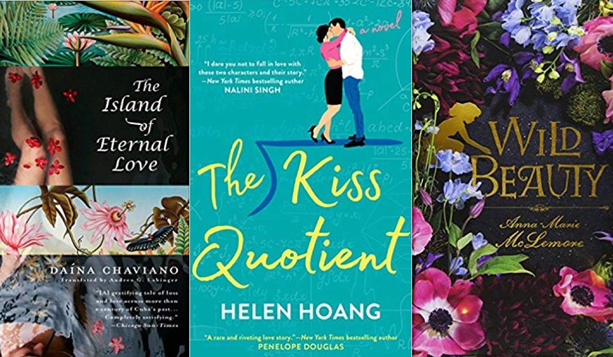 Kiss quotient, island of eternal love, and wild beauty book covers.
