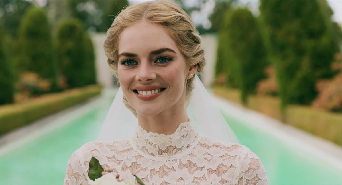 Grace (Samara Weaving) poses before everything goes wrong in Ready or Not.