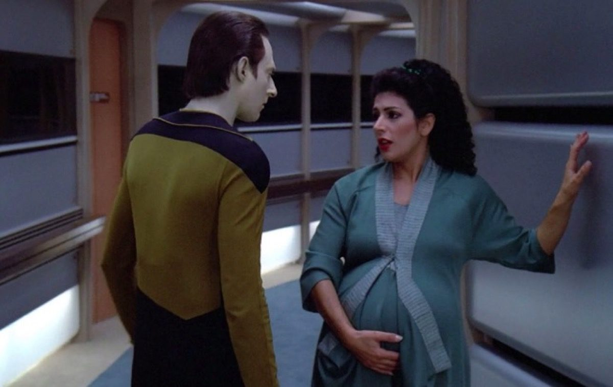 "Deanna Troi pregnant on CBS's Star Trek: The Next Generation ""The Child."""