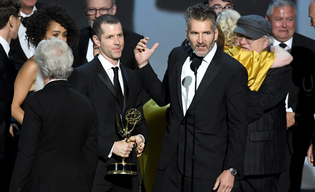 7: D. B. Weiss (L) and David Benioff accept the Outstanding Drama Series award for 'Game of Thrones ' onstage during the 70th Emmy Awards at Microsoft Theater on September 17, 2018 in Los Angeles, California. (Photo by Kevin Winter/Getty Images)