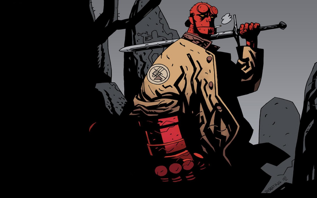 the titular hellboy character doing his thing