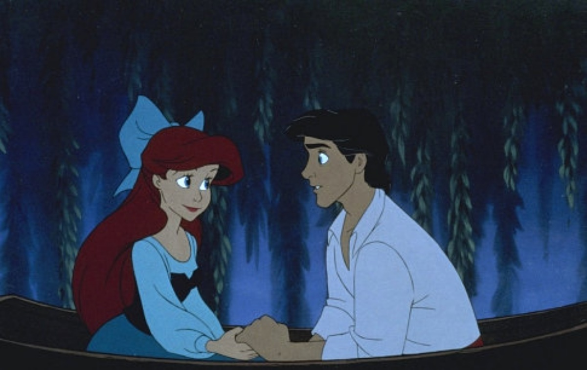 Ariel and Prince Eric making heart eyes at each other because plot