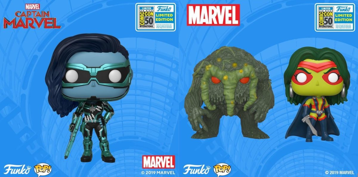 marvel funko sdcc 2019 exclusives minn-erva, man-thing, and gamora