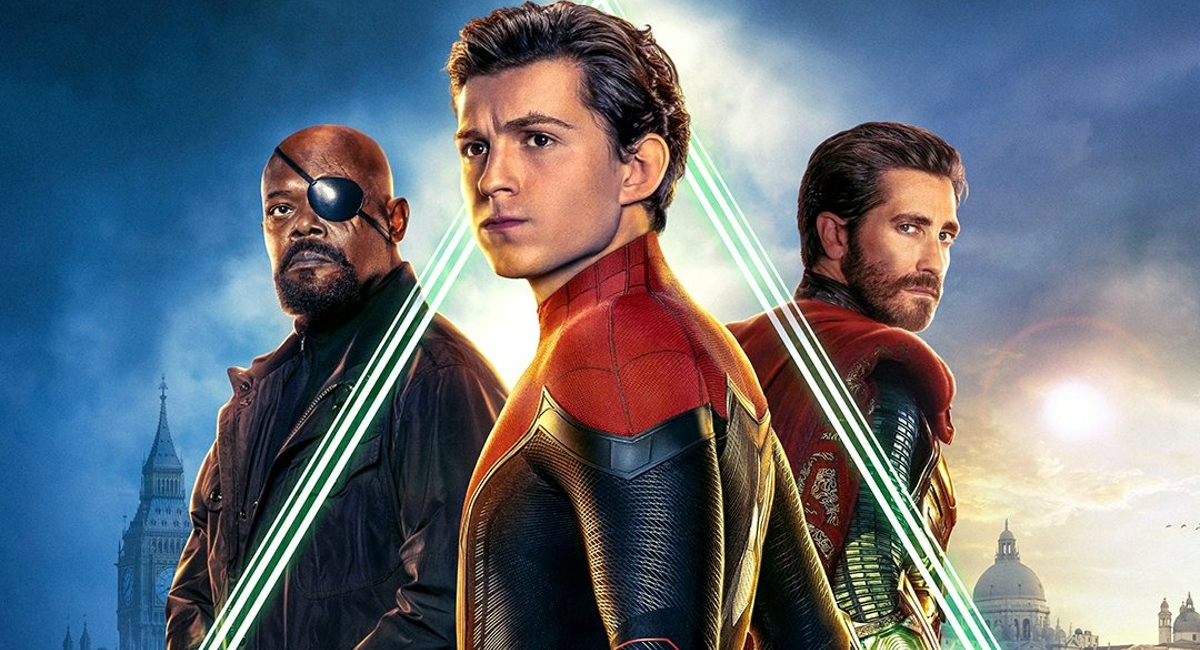 The final poster for Spider-Man: Far From Home, featuring Spider-Man (Tom Holland), Nick Fury (Samuel L. Jackson), and Mysterio (Jake Gyllenhaal).