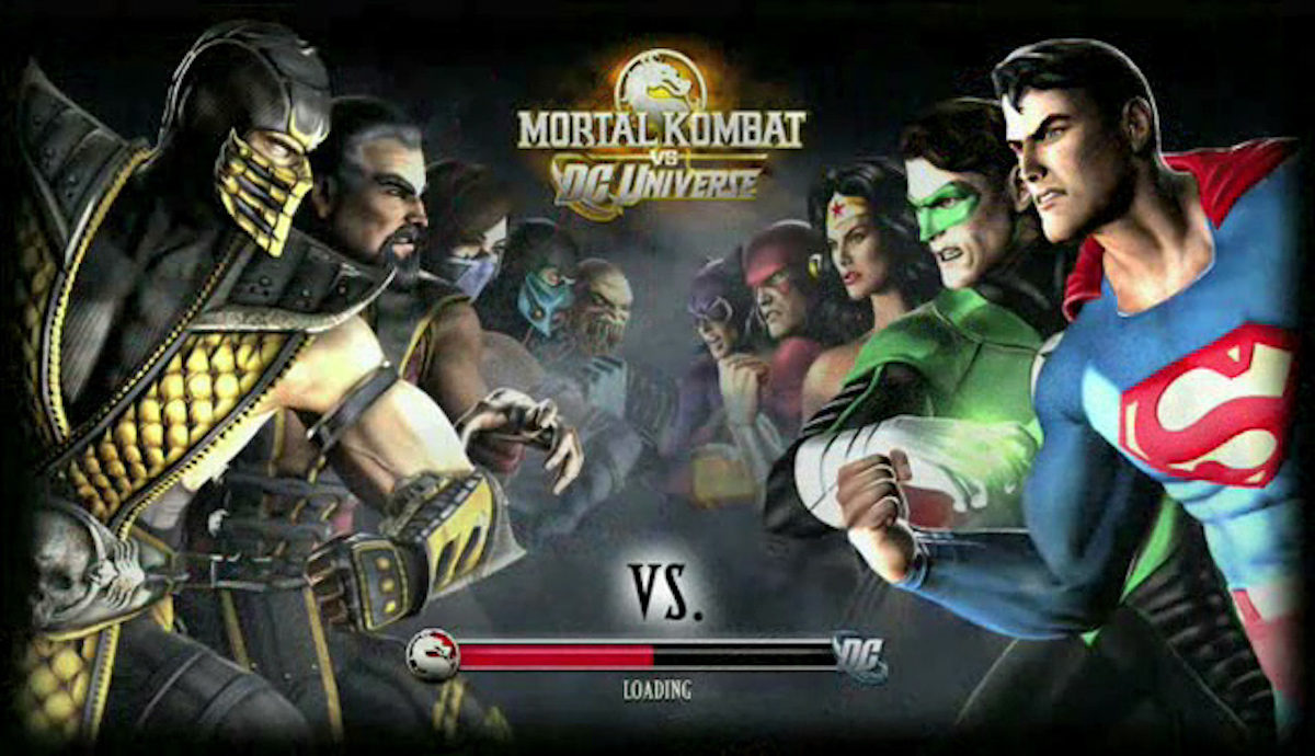 Mortal Kombat vs. DC Universe loading screen featuring Mortal Kombat characters facing DC characters.