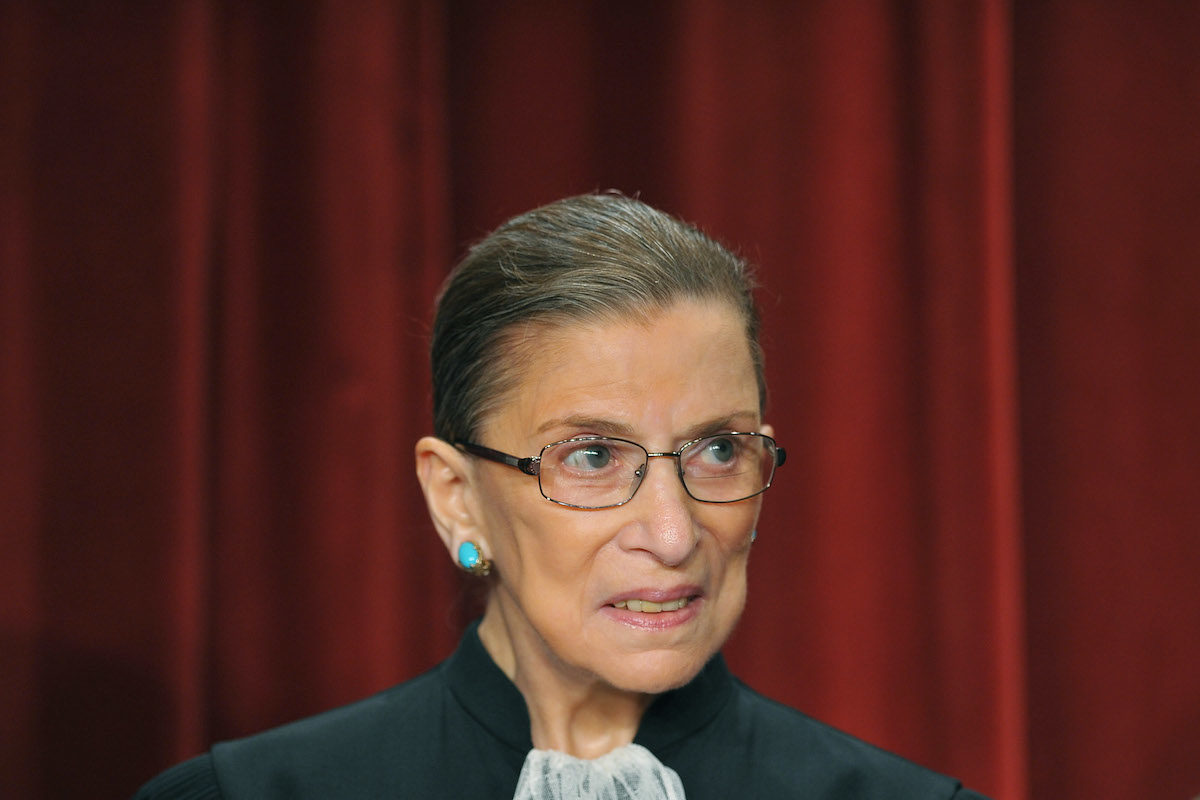 US Supreme Court Justice Ruth Bader Ginsburg poses during a group photo.