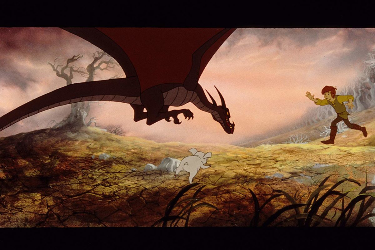 animated still of The Black Cauldron where taran protect hen wen from a dragon