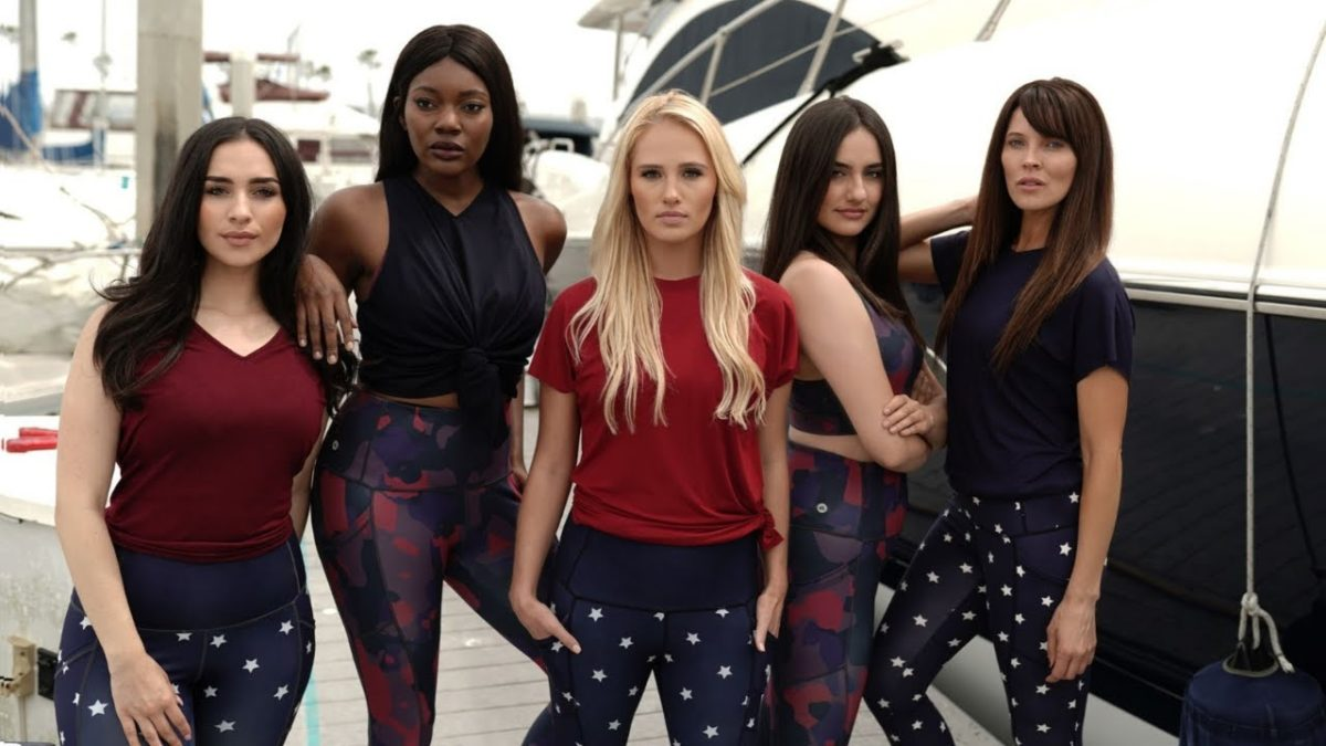 Tomi Lahren and 4 models show off her bigotry-based athleisure line.