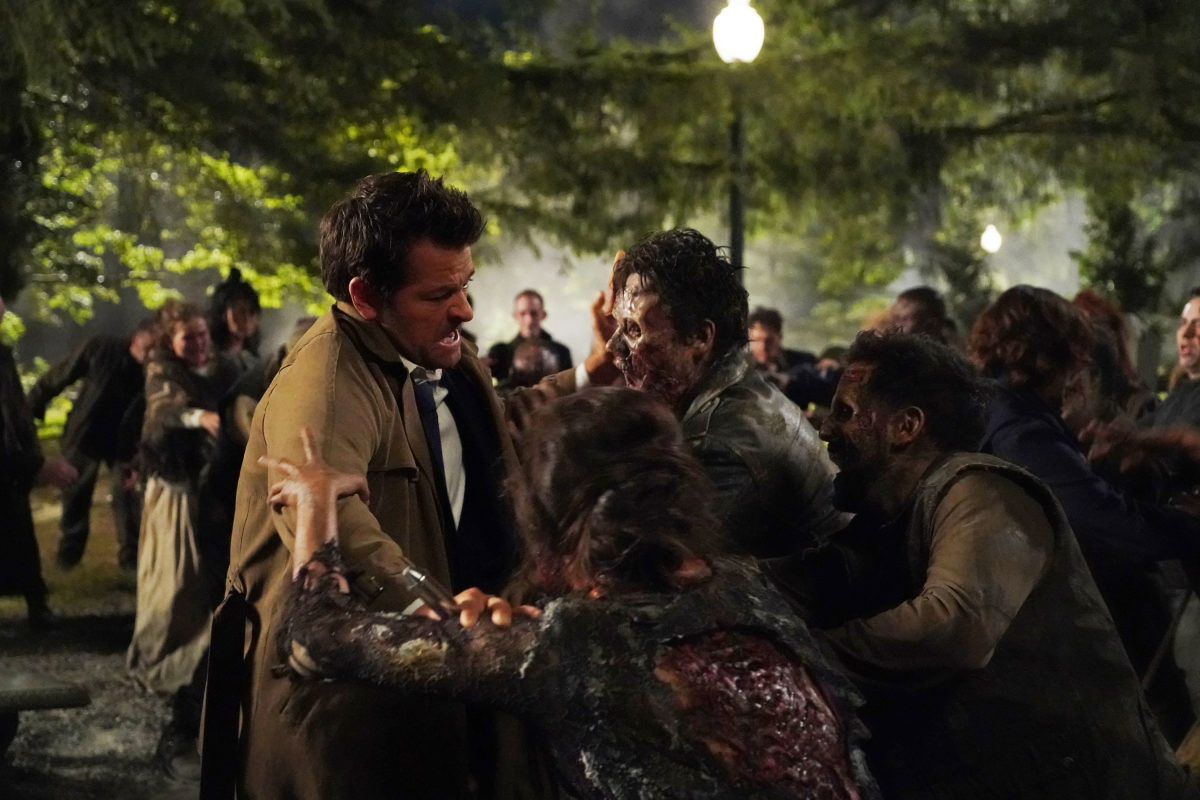 castiel fights hell zombies
