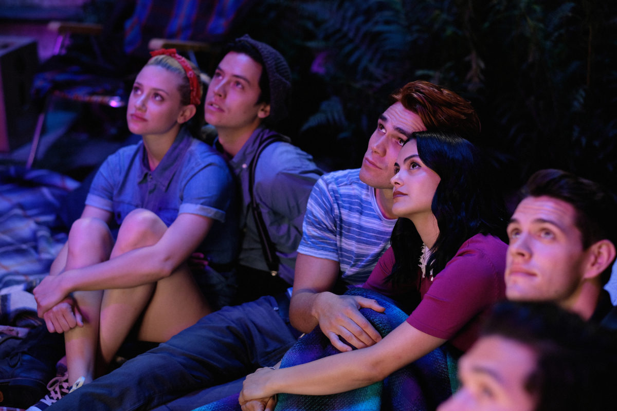 "Riverdale -- ""Chapter Fifty-Eight: In Memoriam"" -- Image Number: RVD401b_0243.jpg -- Pictured (L-R): Lili Reinhart as Betty, Cole Sprouse as Jughead, KJ Apa as Archie, Camila Mendes as Veronica and Casey Cott as Kevin"