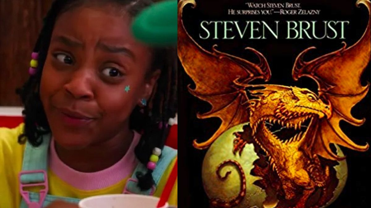 Erica on Stranger Things and Book of Jhereg book cover.