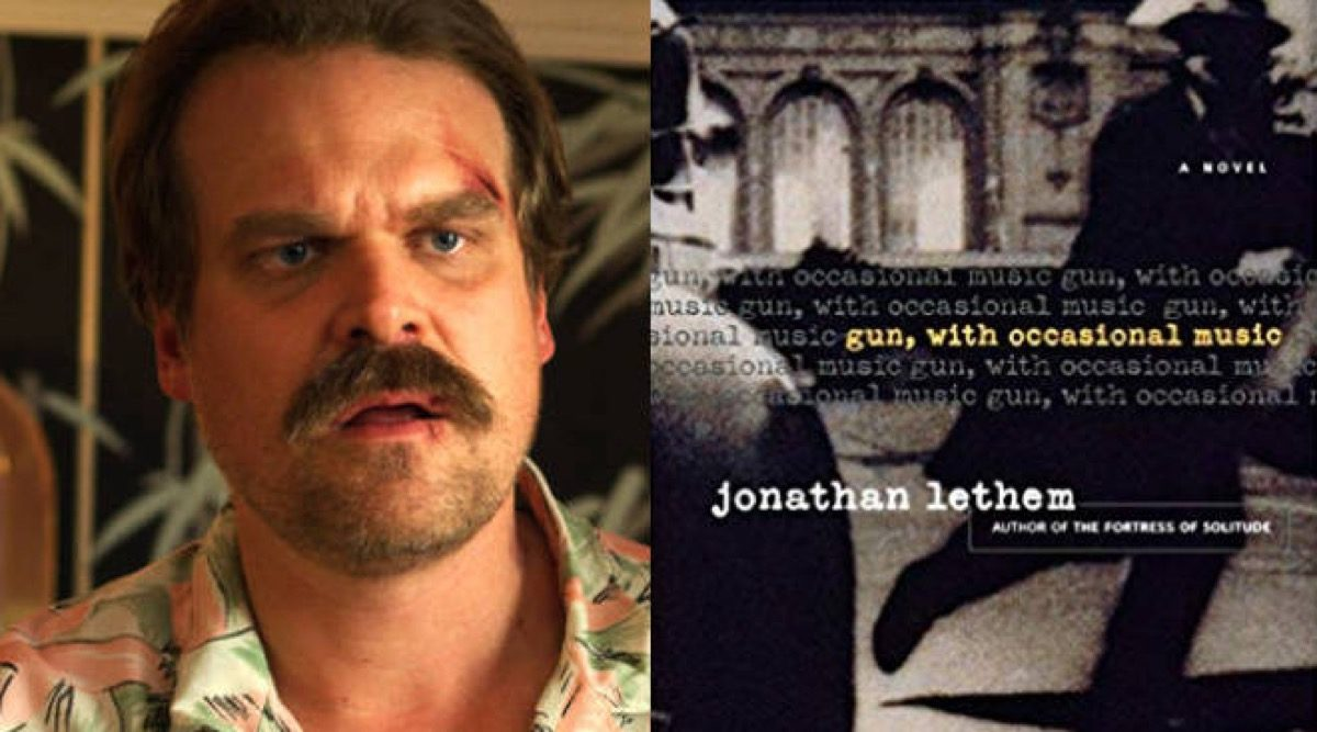 Hopper in Netflix's Stranger Things and Gun, With Occasional Music book cover.