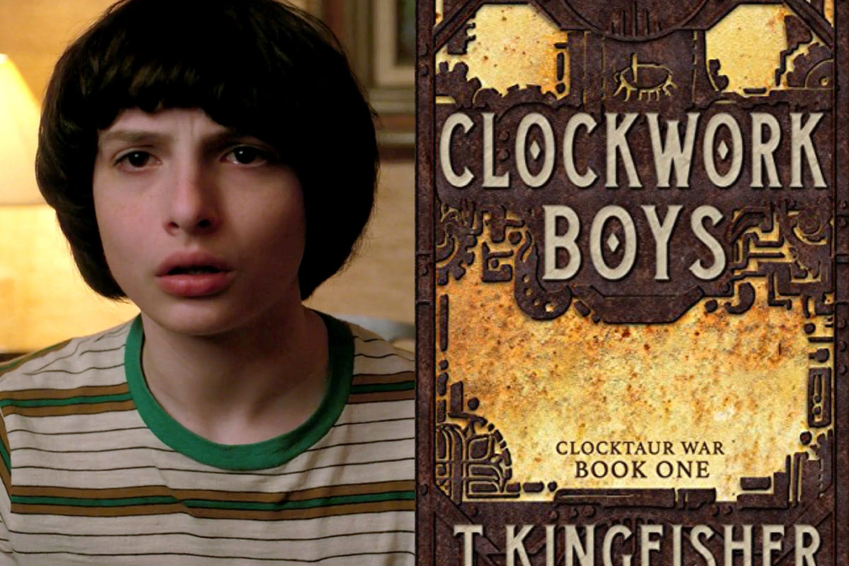 Mike on Stranger Things and Clockwork Boys book cover.