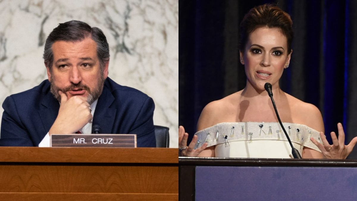 A composite image of Ted Cruz in the Senate and ALyssa Milano speaking to the ACLU.