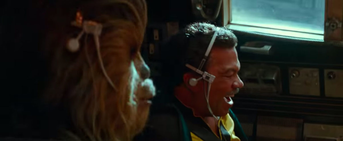 Lando and Chewie pilot the Millennium Falcon in Star Wars: The Rise of Skywalker trailer.