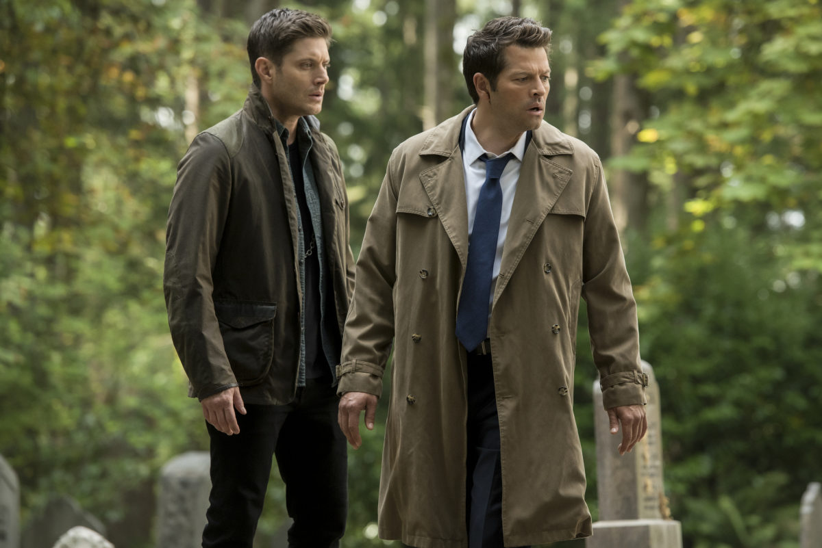 Dean and Cas look moody and attractive