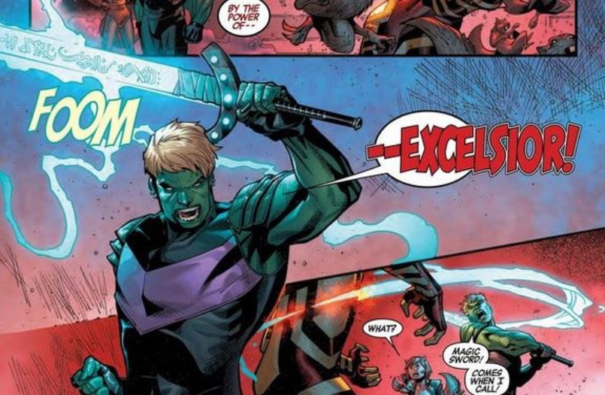 Hulkling wielding magic sword Excelsior in Marvel comics.
