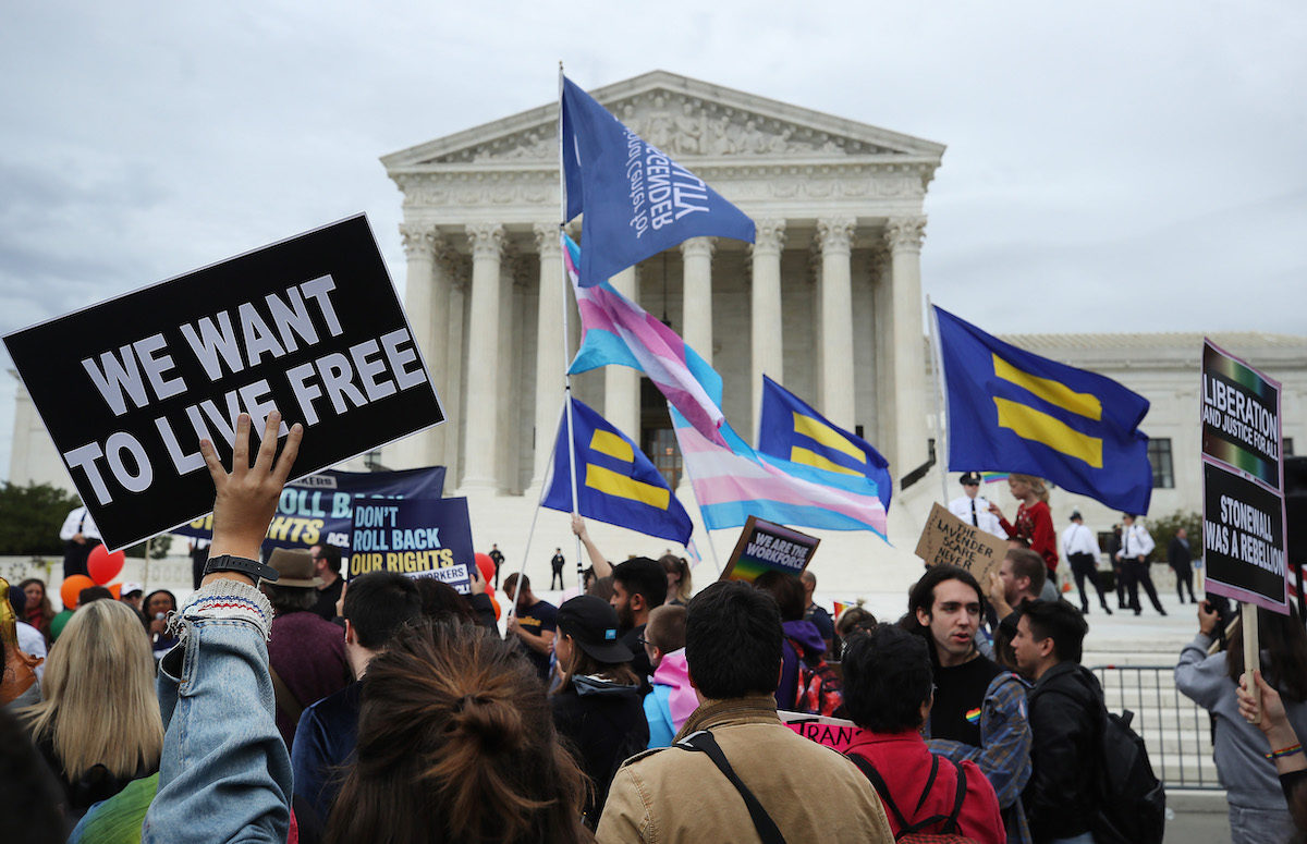 LGBTQ activists protest in front of the U.S. Supreme Court