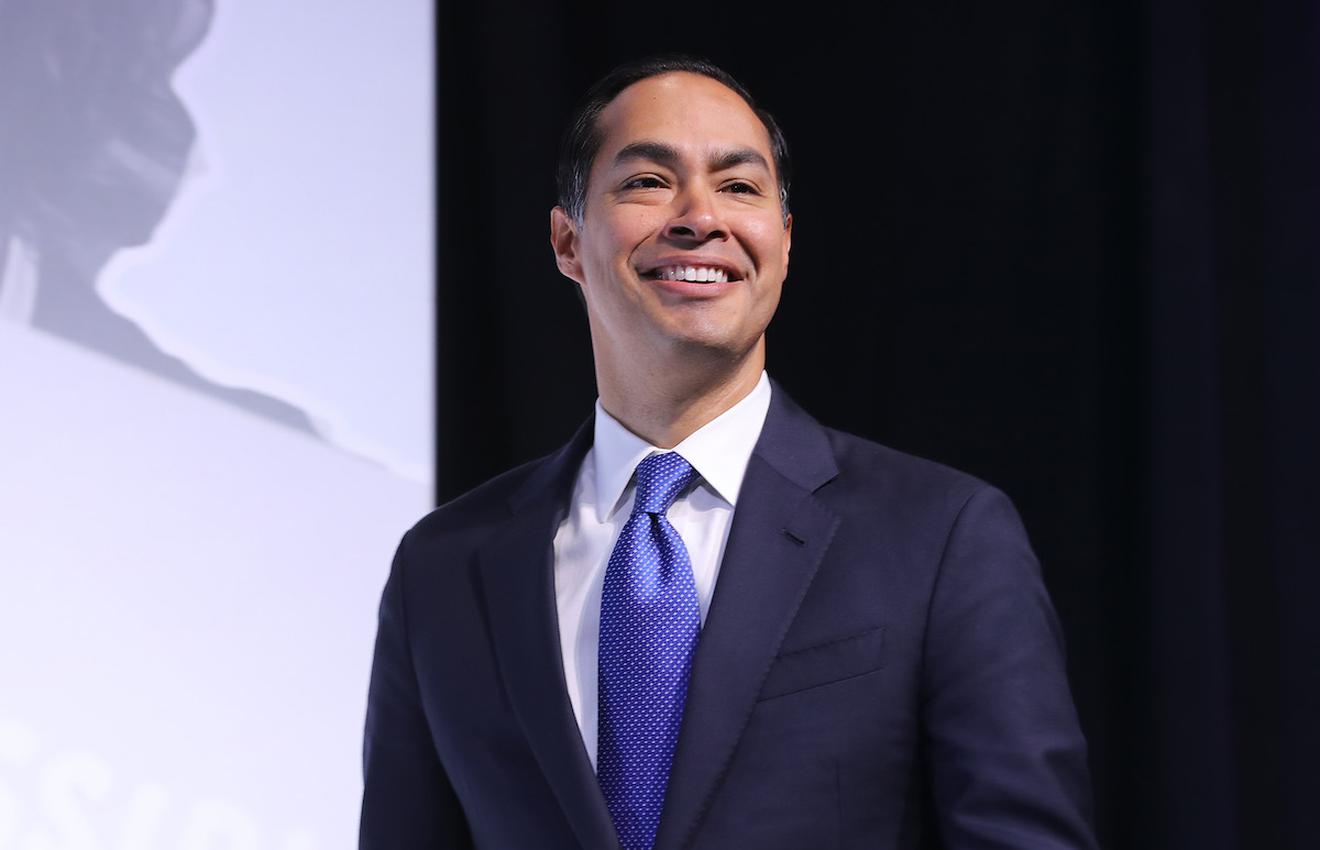 Julian Castro takes the stage during the J Street National Conference at the Walter E. Washington Convention Center