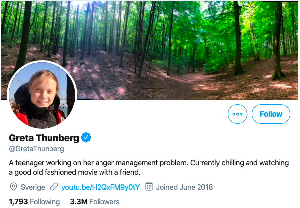 "Greta Thunberg's Twitter bio, reading ""A teenager working on her anger management problem. Currently chilling and watching a good old fashioned movie with a friend."""