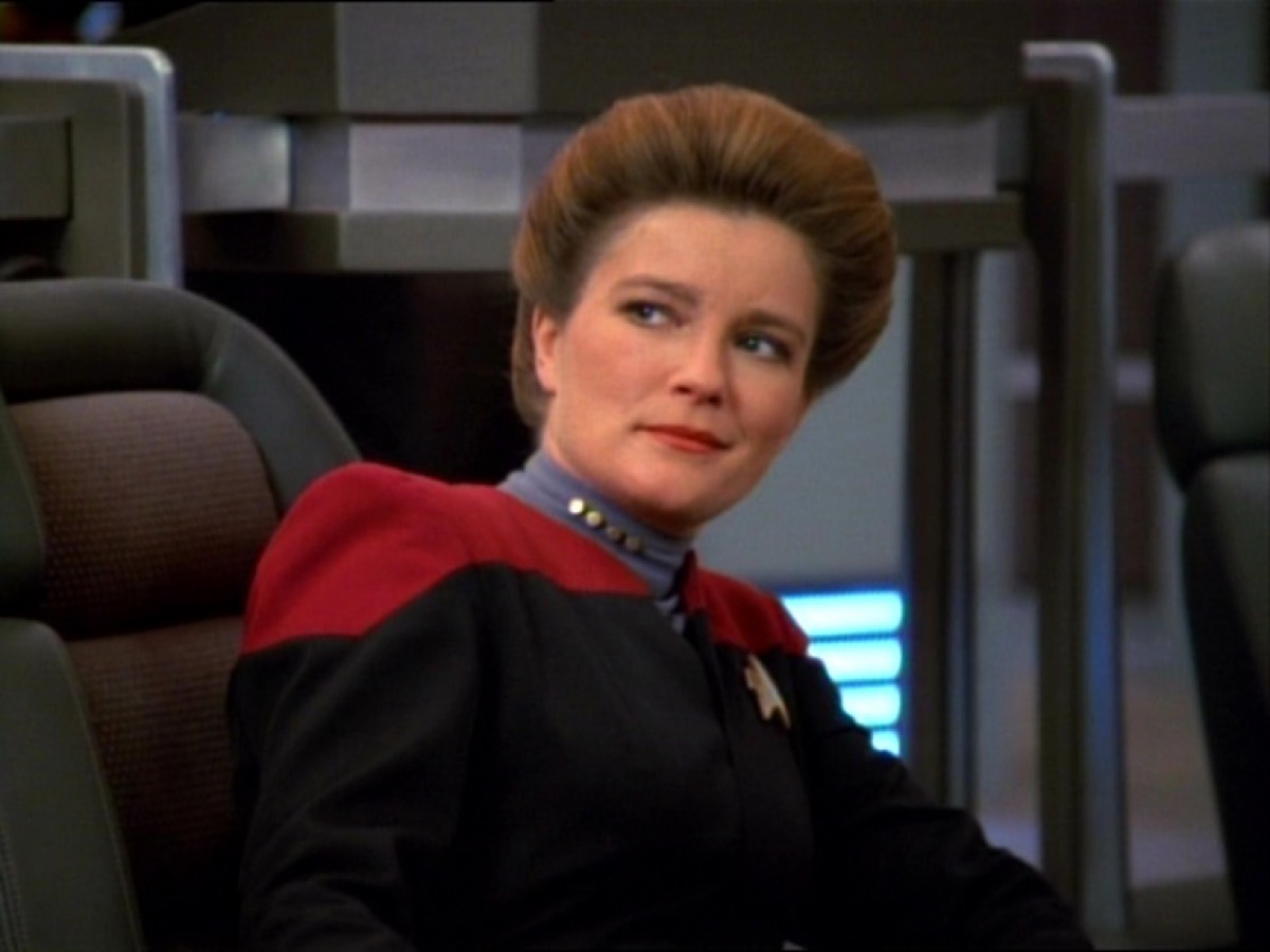 Kate Mulgrew as Captain Janeway on Star Trek Voyager.