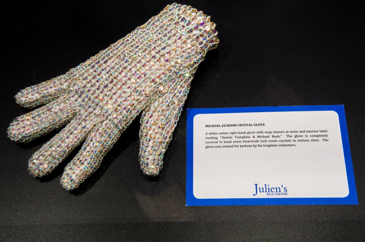 General view of Michael Jackson's 'Crystal Glove' before the VIP Preview of 'The Collection Of Tomkins And Bush: Michael Jackson Wardrobe' at Getty Gallery Westfield Stratford on October 4, 2012 in London, England.