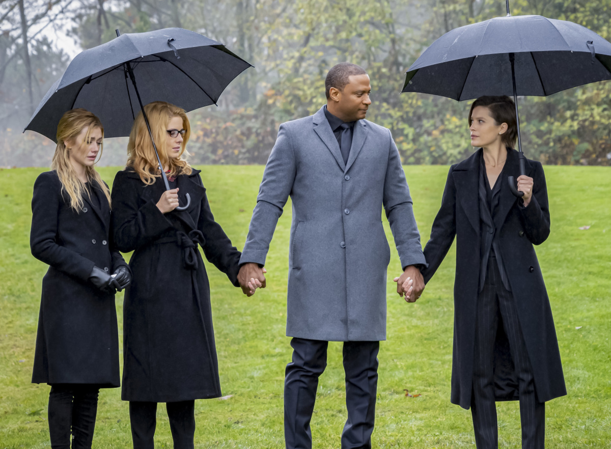 """Arrow -- """"Fadeout"""" -- Image Number: AR810C_0147b.jpg -- Pictured (L-R): Katherine McNamara as Mia, Emily Bett Rickards as Felicity Smoak, David Ramsey as John Diggle/Spartan and Audrey Marie Anderson as Lyla Michaels -- Photo: Colin Bentley/The CW -- © 2020 The CW Network, LLC. All Rights Reserved."""