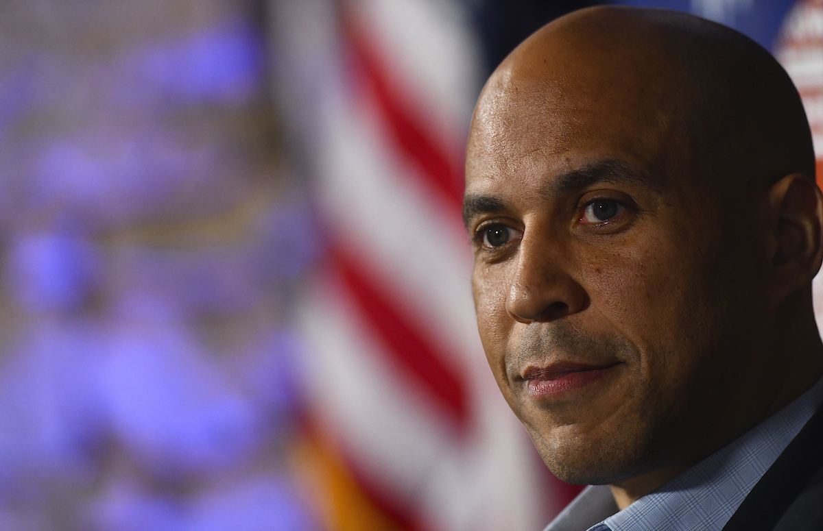 Cory Booker (D-NJ) speaks during a town hall