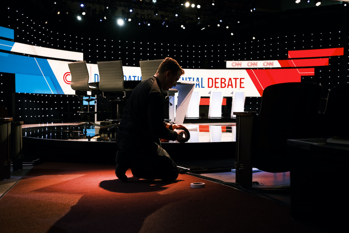 The stage is prepared for a Democratic presidential debate