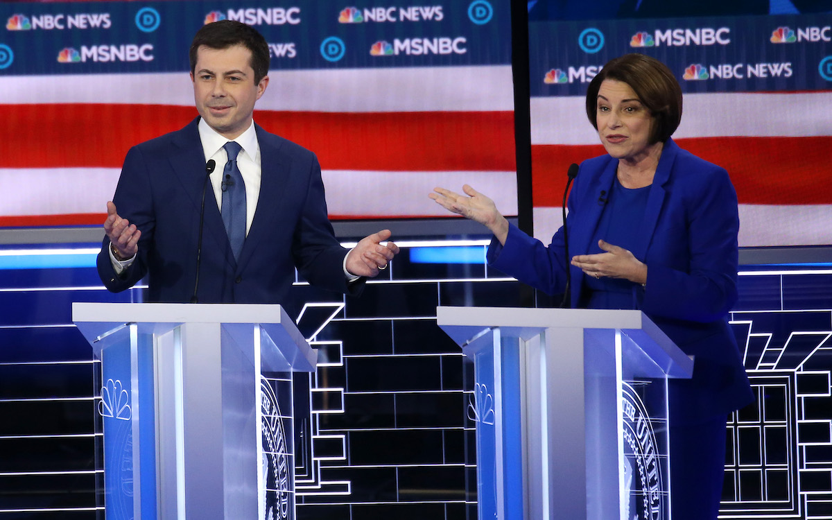 Pete Buttigieg and Amy Klobuchar fight onstage at the Democratic debate.