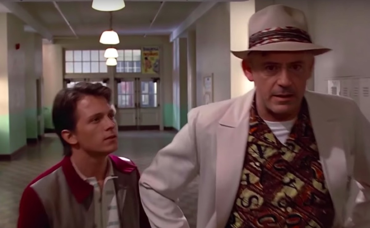 Tom Holland and Robert Downey Jr. deepfaked into Back to the Future.