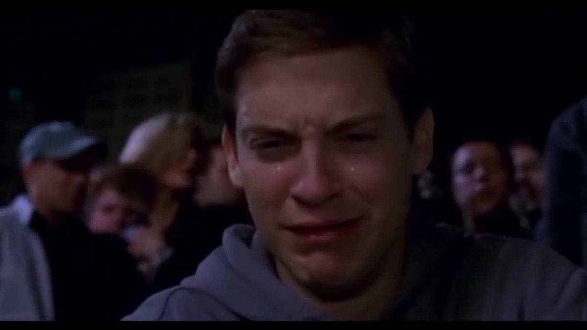 Tobey Maguire crying as Peter Parker in Spider-Man