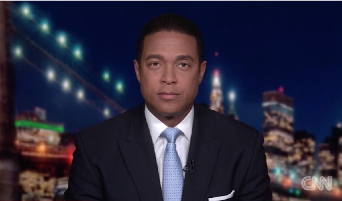 Don Lemon looks into the camera with a serious expression during his show on CNN.